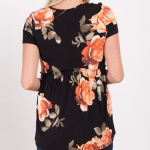 Pinkblush Tops - Pinkblush Black Floral Print Peplum Maternity Top